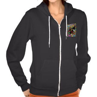 Freckles in Butterflies I, Tux Kitty Cat Hooded Pullover