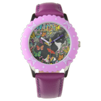 Freckles in Butterflies I, Tux Kitty Cat Wristwatches