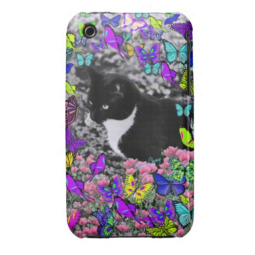 Freckles in Butterflies II - Black and White Cat Case-Mate iPhone 3 Case