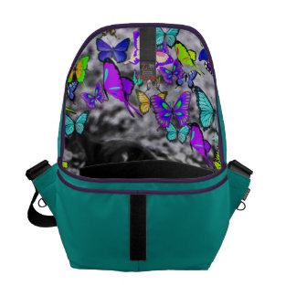 Freckles in Butterflies II - Black and White Cat Courier Bag