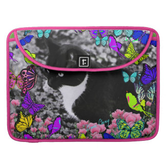 Freckles in Butterflies II - Black and White Cat Sleeve For MacBook Pro