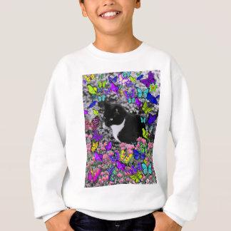 Freckles in Butterflies II - Black and White Cat Sweatshirt