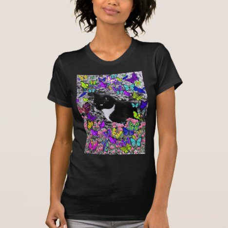 Freckles in Butterflies II - Black and White Cat T-Shirt