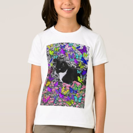 Freckles in Butterflies II - Black & White Cat T-Shirt