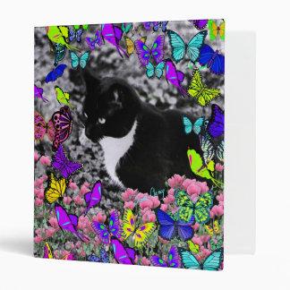 Freckles in Butterflies II - Black & White Tux Cat Binder