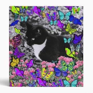 Freckles in Butterflies II - Black & White Tux Cat Vinyl Binders
