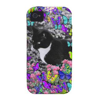 Freckles in Butterflies II - Black & White Tux Cat Vibe iPhone 4 Case