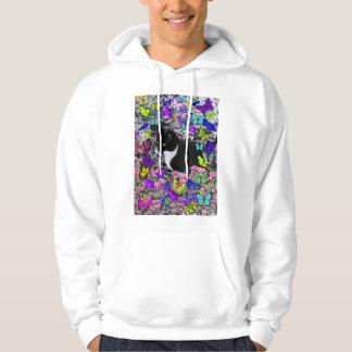 Freckles in Butterflies II - Black & White Tux Cat Hoodie