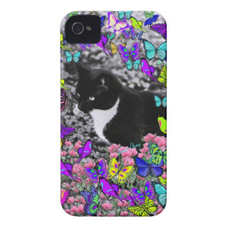 Freckles in Butterflies II - Black White Tux Kitty iPhone 4 Cases