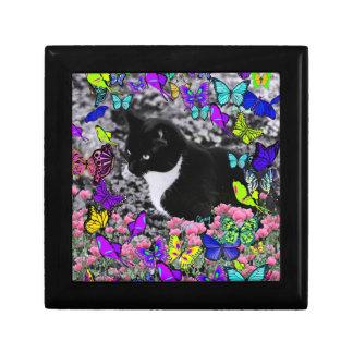 Freckles in Butterflies II - Black White Tux Kitty Keepsake Box