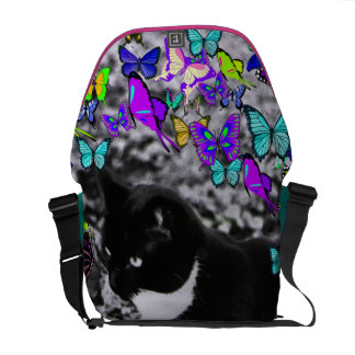 Freckles in Butterflies II - Black White Tux Kitty Courier Bags