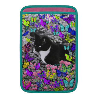 Freckles in Butterflies II - Black White Tux Kitty Sleeve For MacBook Air
