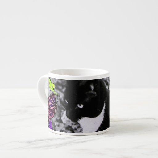 Freckles in Butterflies II - Black White Tux Kitty Espresso Mugs