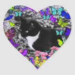 Freckles in Butterflies II - Black White Tux Kitty Heart Stickers