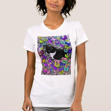 Freckles in Butterflies II - Black White Tux Kitty T-Shirt