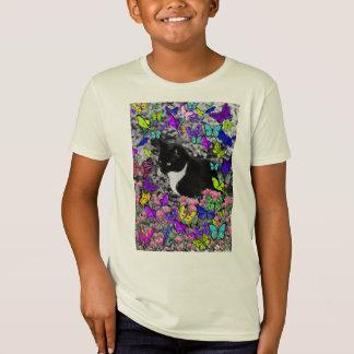 Freckles in Butterflies II - Black White Tux Kitty T-Shirt
