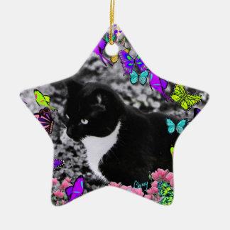 Freckles in Butterflies II - Tux Kitty Cat Ceramic Ornament