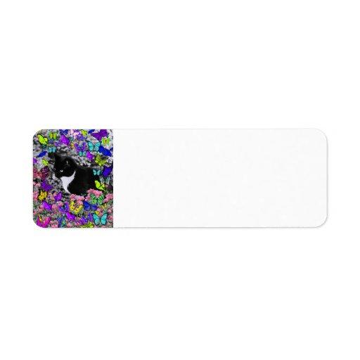 Freckles in Butterflies II - Tux Kitty Cat Return Address Labels
