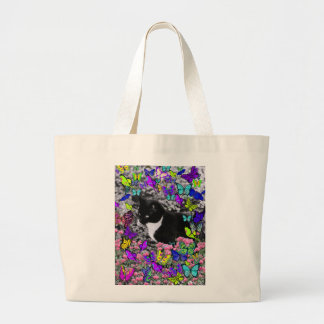 Freckles in Butterflies II - Tux Kitty Cat Large Tote Bag