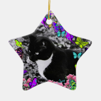 Freckles in Butterflies II - Tux Kitty Cat Christmas Ornament