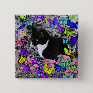 Freckles in Butterflies II - Tux Kitty Cat Pinback Button