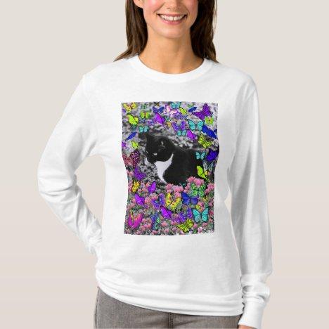 Freckles in Butterflies II - Tux Kitty Cat T-Shirt
