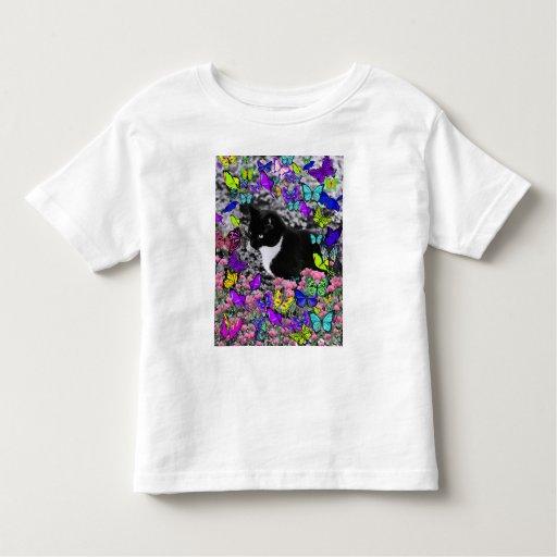 Freckles in Butterflies II - Tux Kitty Cat Tshirt