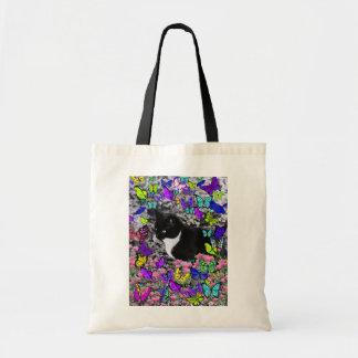 Freckles in Butterflies II - Tuxedo Cat Budget Tote Bag