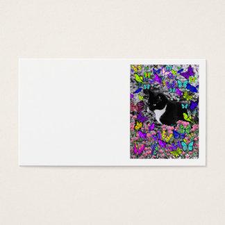 Freckles in Butterflies II - Tuxedo Cat Business Card
