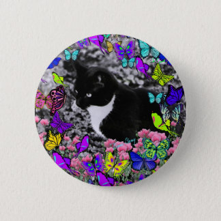 Freckles in Butterflies II - Tuxedo Cat Button