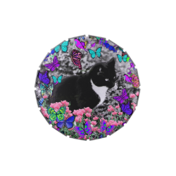 Freckles in Butterflies II - Tuxedo Cat Jelly Belly Candy Tins
