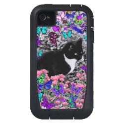Freckles in Butterflies II - Tuxedo Cat iPhone4 Case