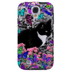 Freckles in Butterflies II - Tuxedo Cat Galaxy S4 Case