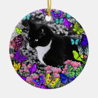Freckles in Butterflies II - Tuxedo Cat Ceramic Ornament