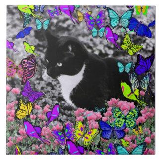 Freckles in Butterflies II - Tuxedo Cat Ceramic Tile