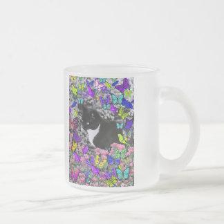 Freckles in Butterflies II - Tuxedo Cat Frosted Glass Coffee Mug