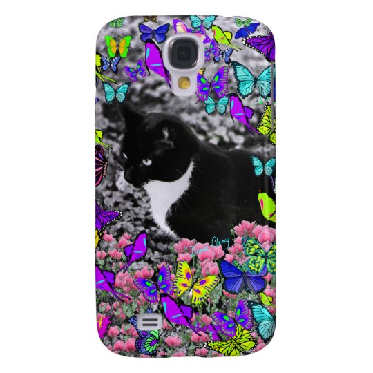 Freckles in Butterflies II - Tuxedo Cat Galaxy S4 Case