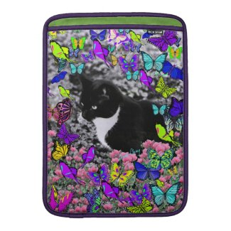 Freckles in Butterflies II - Tuxedo Cat MacBook Sleeve