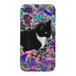 Freckles in Butterflies II - Tuxedo Cat Cover For iPhone 4