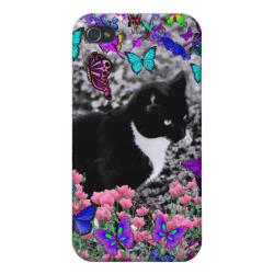 Freckles in Butterflies II - Tuxedo Cat iPhone 4 Cases
