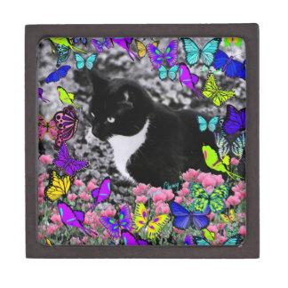 Freckles in Butterflies II - Tuxedo Cat Keepsake Box