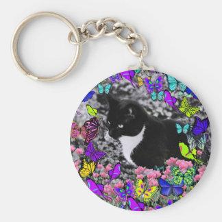Freckles in Butterflies II - Tuxedo Cat Key Chains