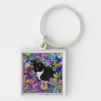 Freckles in Butterflies II - Tuxedo Cat Key Chain