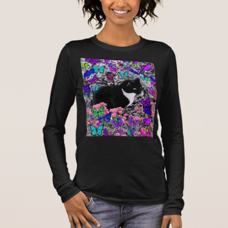 Freckles in Butterflies II - Tuxedo Cat Long Sleeve T-Shirt