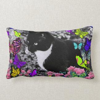 Freckles in Butterflies II - Tuxedo Cat Lumbar Pillow