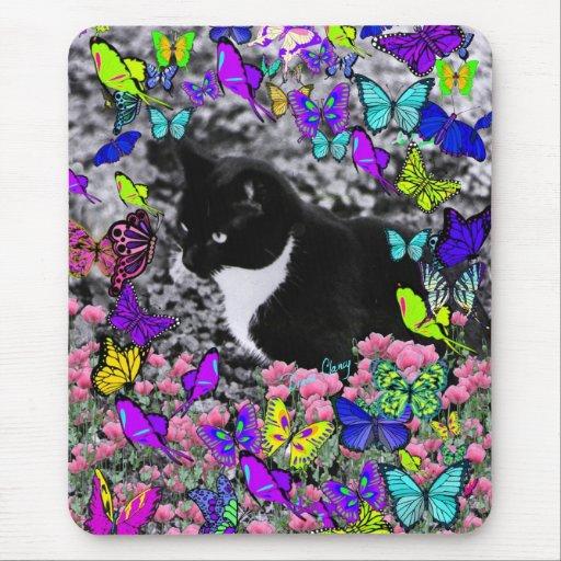 Freckles in Butterflies II - Tuxedo Cat Mouse Pad