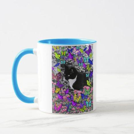 Freckles in Butterflies II - Tuxedo Cat Mug