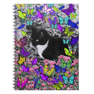 Freckles in Butterflies II - Tuxedo Cat Notebook