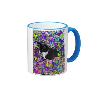 Freckles in Butterflies II - Tuxedo Cat Ringer Mug