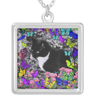 Freckles in Butterflies II - Tuxedo Cat Silver Plated Necklace